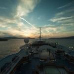 Vista da proa do navio