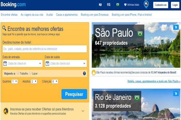 Página inicial da Booking.com