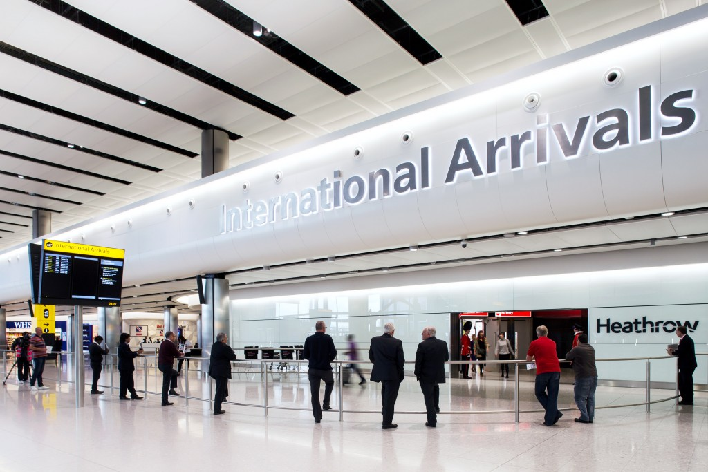 Heathrow Airport, Terminal 2A, first day of operations, arrivals concourse, 04 June 2014.