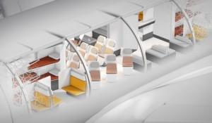 Airbus revela conceito de cabine com academia, bar e até recreação para crianças