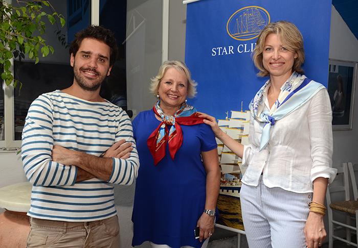 Jean-Bruno Gillot, Caroline Putnoki, da Cap-Amazon Representações, com Teri Haas, da Star Clippers Americas
