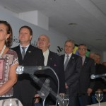 Teté Bezerra, do MTur, Pedro Kempe, da Abav-PR, Rafael Greca, prefeiro e autoridades na solenidade de abertura