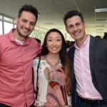 Léo Campos e Leandro Campos, da Synapse Business, com Fernanda Abe, do SPCVB