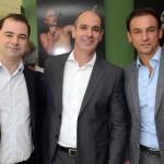 Rafaele Cecere, da R1, Heber Garrido, do Transamérica Hotels, e Patrick Mendes, da Accor