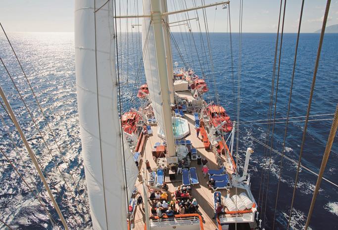 Vista do alto do mastro do Star Clipper (foto: divulgação)