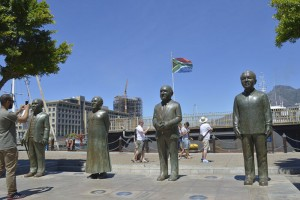 Nelson Mandela, F W de Klerk, Desmond Tutu and Albert Luthuli on Nobel Square, Cape Town.