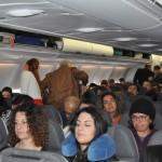 Embarque do voo inaugural para Santiago