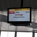 O painel do GRU pela 1ª vez mostrava uma operação da Avianca para Santiago