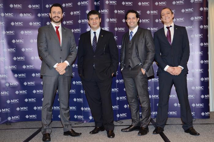 Eduardo Mariani, Ignacio Palacios, Bruno Cordaro, e Jonas Dahmer, da MSC Cruzeiros