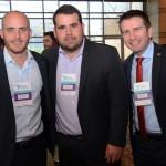 Marcos Pessuto e João Cazeiro, da GJP, e Rodrigo Aquino, do Bourbon Hotéis