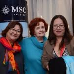 Tomoko Matsuzaka, consultora de Viagens, Telma Wohlers, da Levo Você, e Linda Watanabe, da Prana Travel