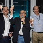 O brinde feito por Frederico Pedreira e José Efromovich, da Avianca, com Wilson de Souza, do GRU Airport