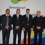 Vinicius Lummertz, da Embratur, os deputados Weverton Rocha, Arthur Lira, Cláudio Cajado e Paulo Azi, e Marx Beltrão do MTur