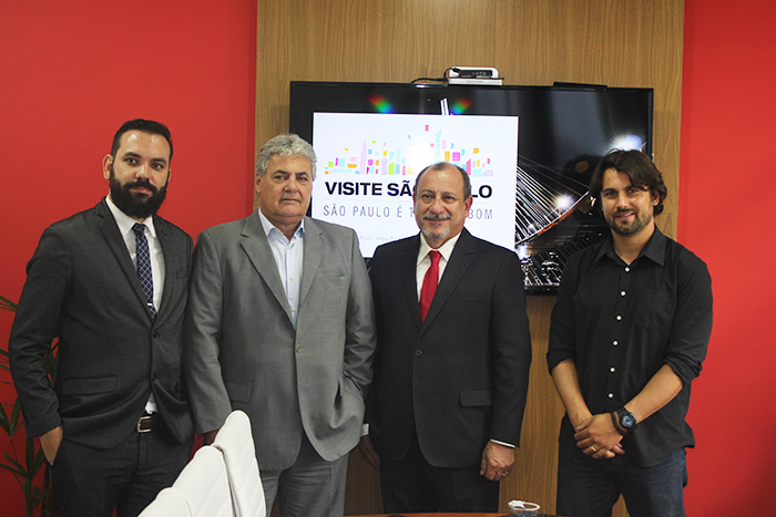 Fabio Zalenski, gerente do Visite São Paulo, Eduardo Colturato, diretor de Turismo da SPTuris, Toni Sando, presidente do Visite São Paulo, e Fabio Montanheiro, coordenador do Observatório do Turismo