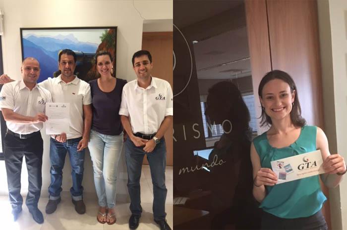 à esquerda; Cesar Barbieri, representante da GTA em Ribeirão Preto e região, Richard Feres e Beatriz Moretto, da Ventorum; e Wilter Furtado Filho, executivo de contas da GTA. Foto à direita, Fernanda Handke, da OP Turismo