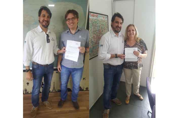 Rodrigo José Gottardo, da Porta do Sol Turismo e Vera Lucia Vitti Francoso, da agência Vera Francoso receberam o prêmio das mãos de Agenor Bertoni, representante de vendas da GTA em Campinas