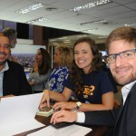 Adriano Gomes e Bruna Castro, da CVC, com Gonzalo Romero, da Aerolineas