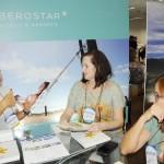 Ana Carolina, da Iberostar, com Dagmar Chamorro, da Dandara Transtur, e Sonia Figueira, da Tianá Turismo