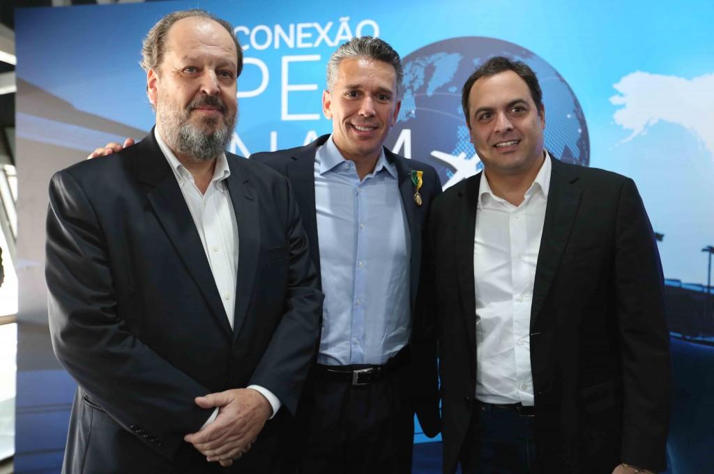 Eduardo Sanovicz, Felipe Carreras e Paulo Câmara, governador de Pernambuco / Foto: Hesíodo Góes/Seturel-PE