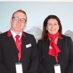 AndreasNef, do Swiss Travel System e María Corinaldesi, da Rail Europe,