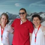 Christina Binnie, Christiane Ziemer e Magda Moraes, da Swiss Air Lines