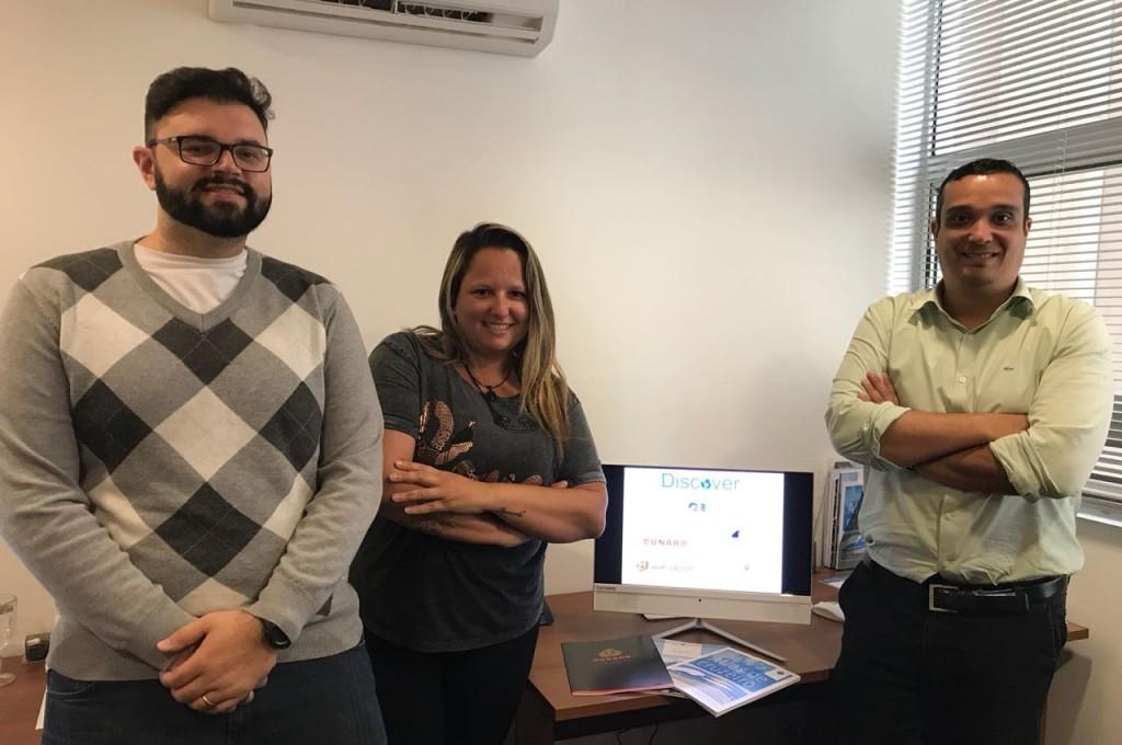 Eros Gori Netto, do atendimento, Gabriela Guimarães, gerente de operações, e Eduardo Barbosa, gerente de vendas da nova unidade