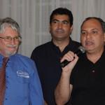 Marcelo Abreu, gerente da Emirates no RJ, com Miguel Andrade, diretor da Transmundi, e Rodrigo Galvão, da Emirates