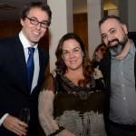 Nicolas Laitselart, cônsul adjunto do Consulado da França, Ana Paula Garrido, e Anderson Masetto, editor do M&E