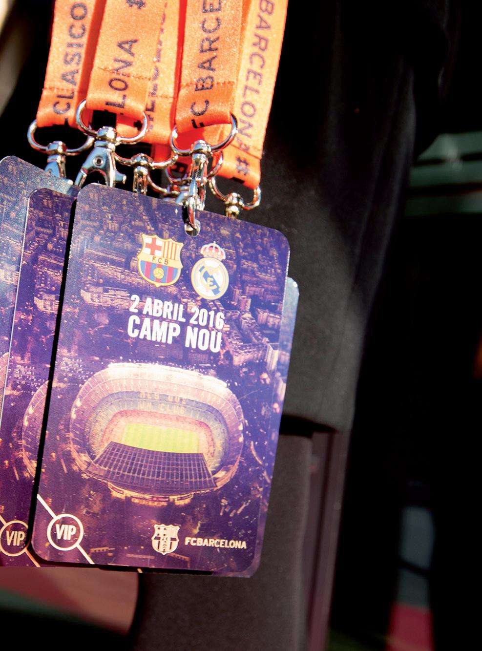 Credencial VIP para visitantes do Camp Nou Experience, para o jogo entre FC Barcelona e Real Madrid