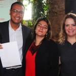 Jessica Melo, da Souza Cruz, com Leopoldo Monteiro e Talita Moran, do Meliá, ganhou diárias para o Tryp Nações Unidas