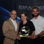 Christina Binnie, do Grupo Lufthansa, Nelson Oliveira e Pedro Azevedo, da CWT