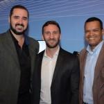 Fabio Marasca, da SAA, entre, Paulo Faloppa e Junior Souza, da Sakura Tour