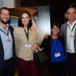 Fabio de Oliveira, Alessandra Antunes e Roger Santos, do Grupo Flytour, com Gloria Cuarezma, da Delta