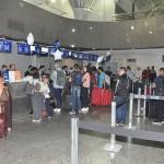 Passageiros no check-in para o primeiro voo da Copa Airlines partindo de Fortaleza