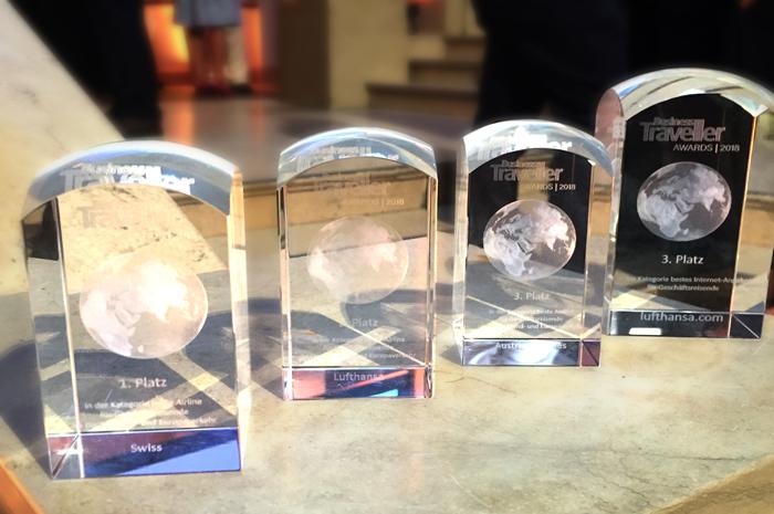 Um total de quatro prêmios para Austrian Airlines, Lufthansa e SWISS este ano no Business Traveller Awards