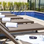 A piscina do Royal Palm Tower Anhanguera fica localizada na cobertura