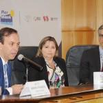 Adrian Ursilli, da MSC, Estela Farina, da NCL, e Marco Ferraz, da Clia Brasil