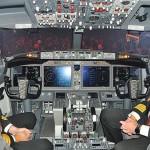Cabine de comando da aeronave e seus pilotos