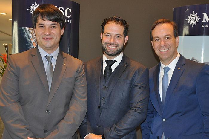 Ignacio Palacios, diretor de Vendas, Bruno Cordaro, gerente de Vendas, e Adrian Ursilli, diretor geral da MSC no Brasil
