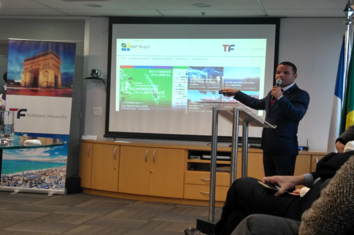 Andre Raynaud durante evento de apresentação da nova empresa