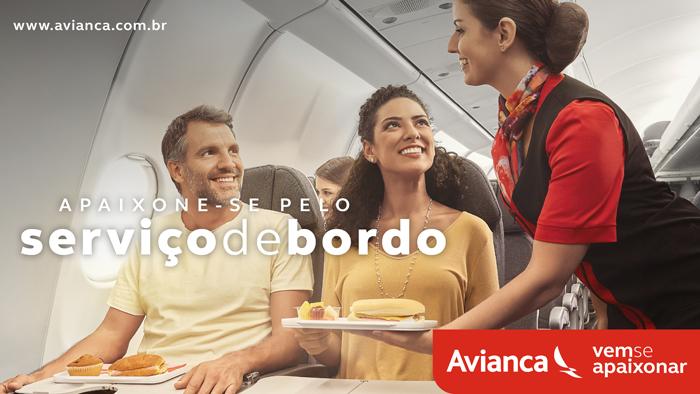 Uma das peças da campanha aborda o serviço de bordo da Avianca Brasil