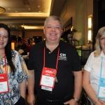 Rafaella Brown, do Visit Florida, Eduardo Bittencourt, da CH Travel, e Cristina Nersessian, da Hub2World