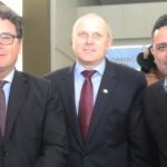 Vinícius Lummertz, ministro do Turismo, Mario Cecato, da Itaipu Binacional, e Gilmar Piolla, secretário de Turismo de Foz
