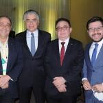 Geraldo Rocha, presidente da Abav, Alberto Alves, do MTur, Manoel Linhares, presidente da ABIH, e Gilson Lira, da Embratur