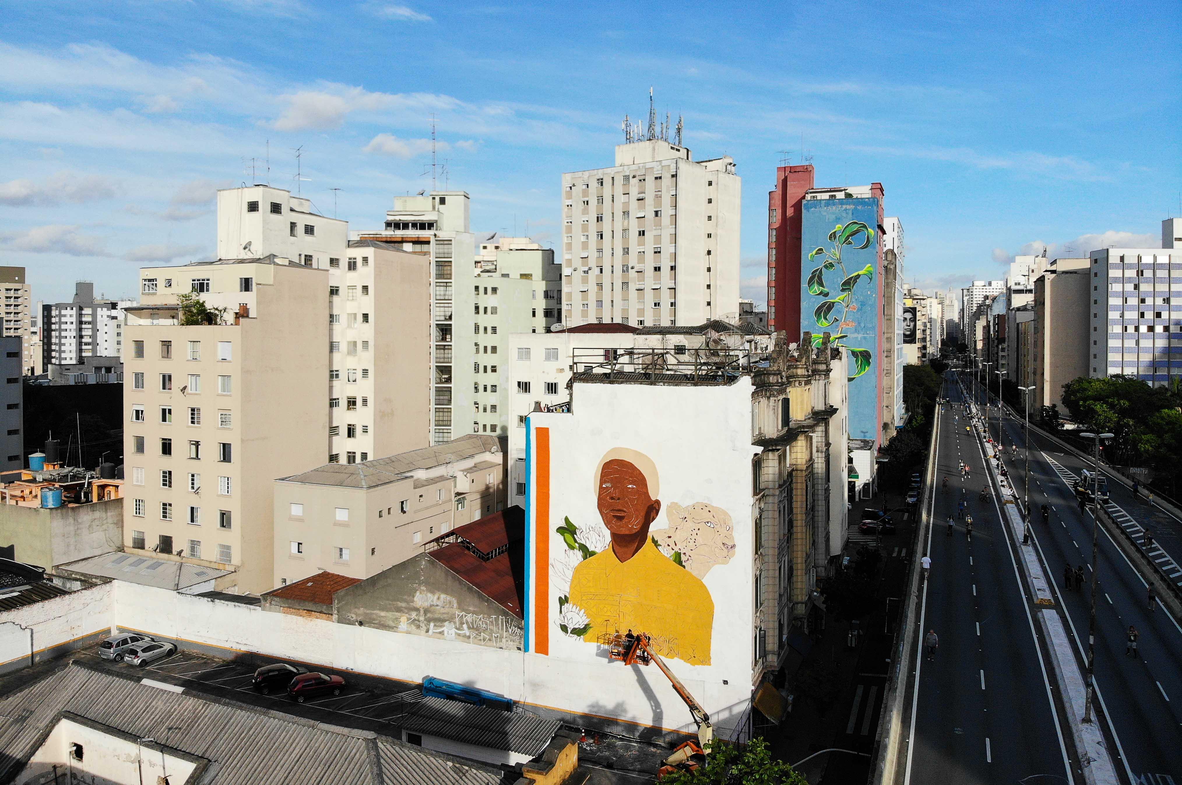 Obra em homenagem a Nelson Mandela no centro de São Paulo
