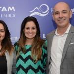 Suelda Vicente e Camila Belinelli, da Latam, e Heber Garrido, do Grupo Rio Quente