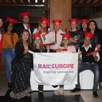 Ana Corinaldesi, Maria Corinaldesi, e Cristiane Vento, da Rail Europe, com os agentes formados