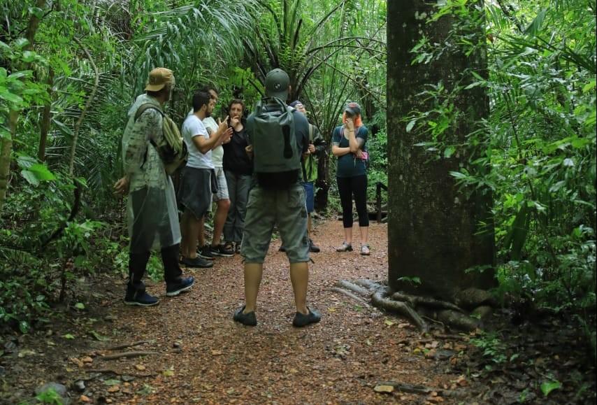 Grupo com guia conhece o jaracatiá. Foto de Valter Patriol - H2O Ecoturismo e Eventos