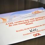 Todos os passageiros receberam um certificado da Gol por poarticiparem do voo inaugural