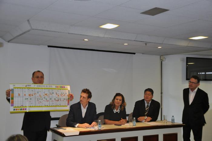 Toni Sando, do Visite São Paulo, André Sanches, do SPTuris, Teté Bezerra, da Embratur, Bruno Omori, da ABIH-SP e Luiz Fernando da Cunha Vaz